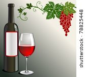 a bottle and glass of red wine... | Shutterstock .eps vector #78825448