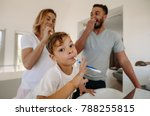 little boy brushing teeth with... | Shutterstock . vector #788255815