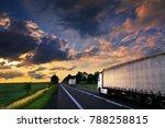 truck transportation at sunset   Shutterstock . vector #788258815