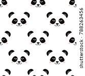 sleepy panda face. seamless...   Shutterstock .eps vector #788263456