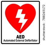 of a red aed sticker with... | Shutterstock . vector #788265172