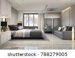 3d rendering modern luxury blue ... | Shutterstock . vector #788279005
