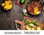 chili con carne in frying pan... | Shutterstock . vector #788280136