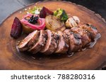 juicy veal steak with grilled...   Shutterstock . vector #788280316