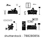 stick figure resting at home... | Shutterstock . vector #788280856
