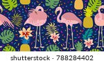 bright tropical print. seamless ... | Shutterstock .eps vector #788284402