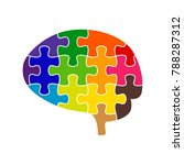 Stock vector puzzle brain colorfully on white background vector illustration of colorful jigsaw concept 788287312