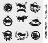 bull labels and elements set.... | Shutterstock .eps vector #788287366