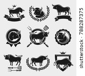 bull labels and elements set.... | Shutterstock .eps vector #788287375