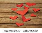 red heart paper on wooden... | Shutterstock . vector #788295682
