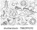 sea doodle set. hand drawn... | Shutterstock .eps vector #788299192