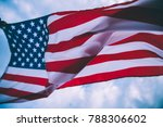 usa flag blown by the wind. | Shutterstock . vector #788306602