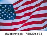 usa flag blown by the wind. | Shutterstock . vector #788306695