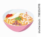 singapore laksa noodles | Shutterstock .eps vector #788306998