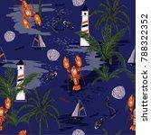 seamless pattern summer... | Shutterstock .eps vector #788322352