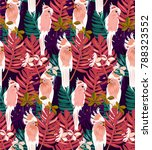 tropical pattern. pattern with... | Shutterstock .eps vector #788323552