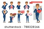 valentine man poses set.... | Shutterstock .eps vector #788328166