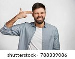 stressful bearded male clenches ... | Shutterstock . vector #788339086
