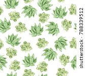 seamless pattern with green... | Shutterstock . vector #788339512