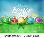 happy easter background with...   Shutterstock .eps vector #788341336