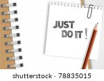 just do it word note on brown... | Shutterstock .eps vector #78835015