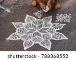 indian woman seen drawing kolam ... | Shutterstock . vector #788368552