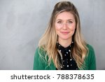 Stock photo conservative outdated unfashionable plain jane headshot in nerdy bizarre outfit 788378635