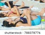 european women practice yoga ...   Shutterstock . vector #788378776