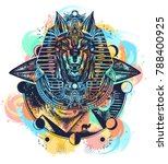 anubis watercolor splashes... | Shutterstock .eps vector #788400925