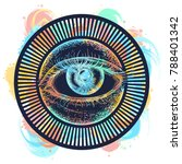 all seeing magic eye watercolor ... | Shutterstock .eps vector #788401342
