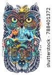 owl and bear color tattoo art... | Shutterstock .eps vector #788401372