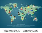 diverse people and world map of ... | Shutterstock .eps vector #788404285