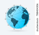globe with lines and dots.... | Shutterstock .eps vector #788404306
