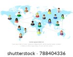diverse people and world map... | Shutterstock .eps vector #788404336