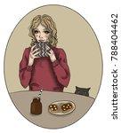 the girl is having breakfast at ...   Shutterstock . vector #788404462