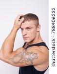muscular man brunette with an...   Shutterstock . vector #788406232