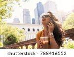 beautiful woman using phone... | Shutterstock . vector #788416552