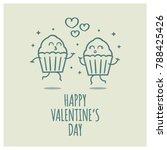 cupcakes in love valentine's... | Shutterstock .eps vector #788425426