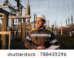 the energy engineer inspects... | Shutterstock . vector #788435296