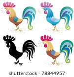illustration of a rooster in 4...