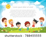 kids playing outside | Shutterstock .eps vector #788455555