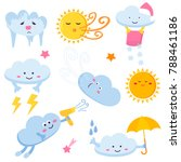 set of funny clouds and suns....   Shutterstock .eps vector #788461186