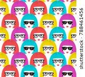 girl faces seamless pattern.... | Shutterstock .eps vector #788461456