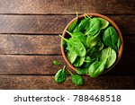 Fresh Spinach Leaves In Bowl On ...
