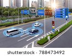 Small photo of Smart car (HUD) , iot , Autonomous self-driving mode vehicle on metro city road iot concept with graphic sensor radar signal system and internet sensor connect.
