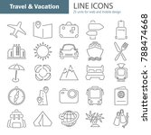 travel and vacation line thin... | Shutterstock .eps vector #788474668