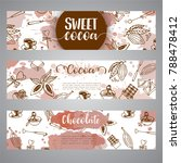 chocolate cacao sketch banners. ... | Shutterstock .eps vector #788478412