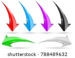 set of 3d arrows. shiny icons.... | Shutterstock .eps vector #788489632