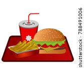 fast food combo on a white...   Shutterstock .eps vector #788491006