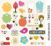 lovely elements for scrapbook | Shutterstock .eps vector #78851233